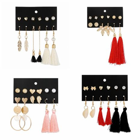 Beads long fringed bow shell earrings set NHSD136052's discount tags