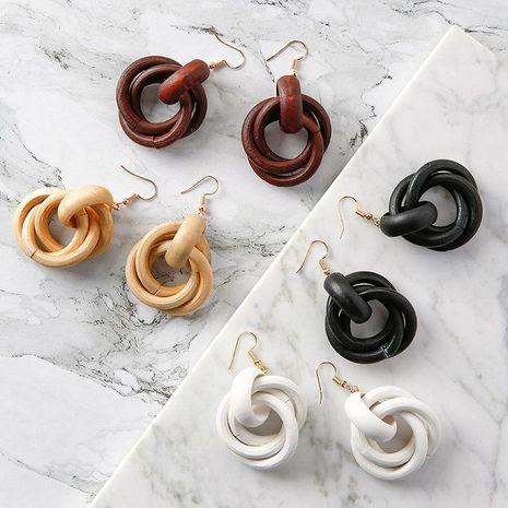 Round Wrap Around Ear Hook Wood Earrings NHMS136064's discount tags