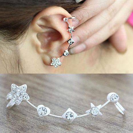Fashion women star rhinestone ear cuff clip earrings alloy alloyen NHDP136110's discount tags