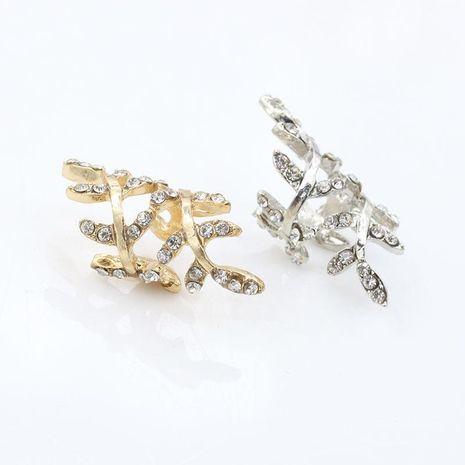 Fashion women rhinestones leaves ear cuff clip earrings alloy alloyen NHDP136132's discount tags
