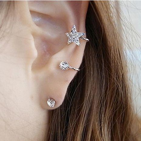 Fashion women star rhinestones single ear cuff clip earrings alloy alloyen NHDP136140's discount tags
