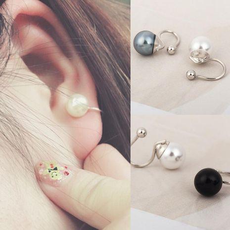 Fashion women beads U-shaped single ear cuff clip earrings black white NHDP136150's discount tags