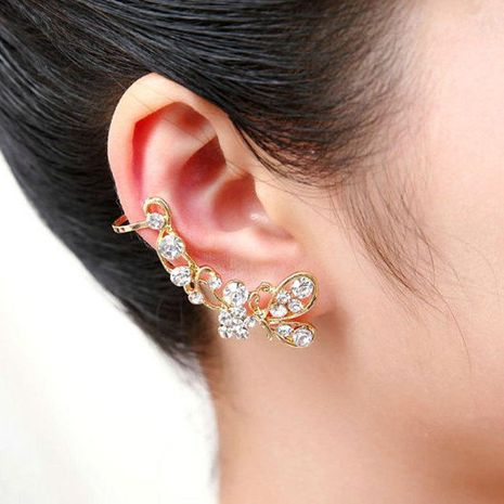 Fashion women butterfly rhinestone ear cuff clip earrings alloy alloyen NHDP136156's discount tags