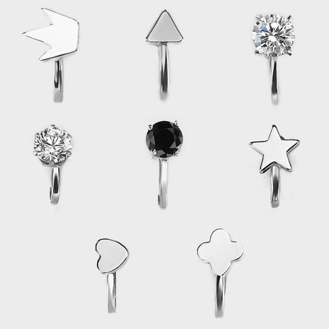 Fashion women rhinestone triangle love heart cuff clip earrings alloy alloy NHDP136165's discount tags