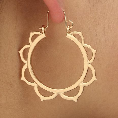 Fashion Lotus Round Cutout Metal Earrings NHGY136239's discount tags