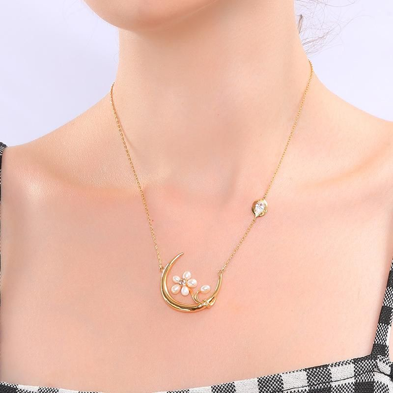 Fashion Beads Zircon Design Cool Cold Moon Necklace NHQD136245