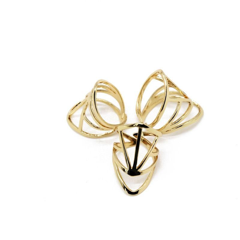 Geometric exaggerated hollow copper ring NHOM136247