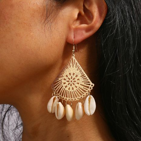 Creative complex simple natural shell fan earrings NHPJ136251's discount tags