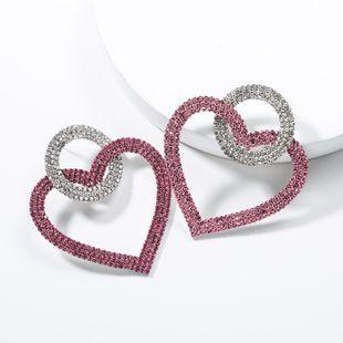 Round Heart Shaped Acrylic Rhinestone Earrings NHJE136316's discount tags