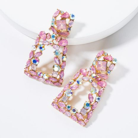 Fashionable trapezoidal acrylic rhinestone earrings NHJE136315's discount tags