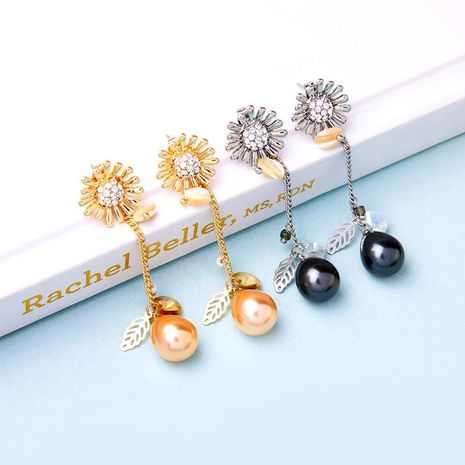 Womens Floral Rhinestone Alloy Earrings NHQD136328's discount tags