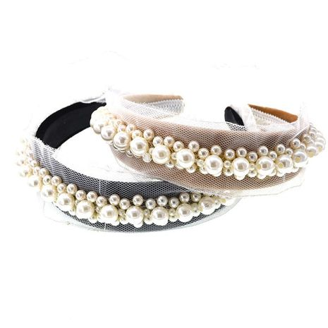 Stylish and elegant temperament beaded stitching headband NHNT136343's discount tags