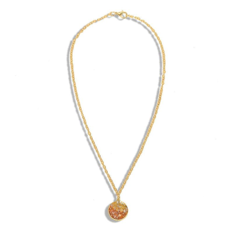 Vintage big brand alloy stone pavé necklace NHJQ136350