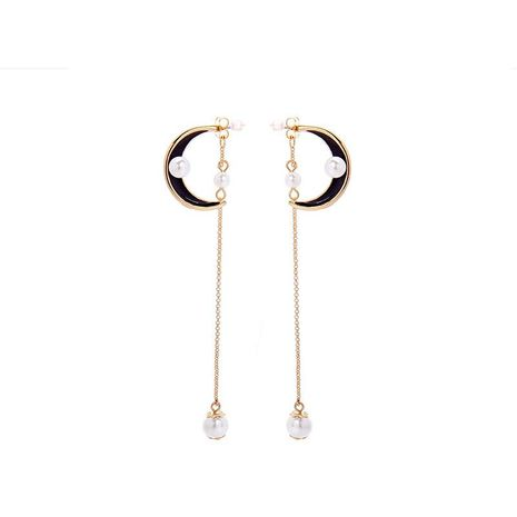 Long dripping oil moon beads earrings NHQD136364's discount tags