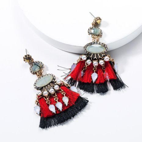 Resin Acrylic Rhinestone Fan Shaped Tassel Earrings NHJE136369's discount tags