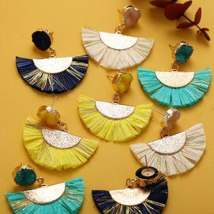 Creative minimalist retro exaggerated Raffia fringed fan earrings NHPJ136378's discount tags