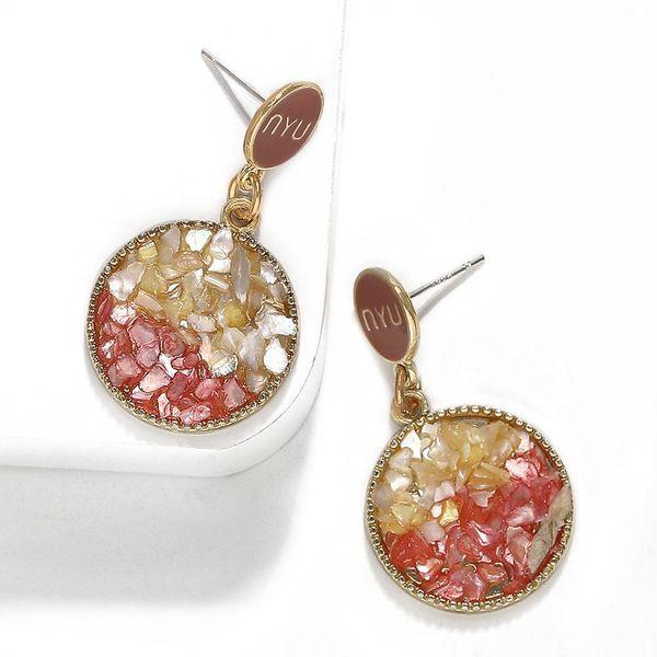Ring cool stone inlaid gravel earrings NHJQ136379