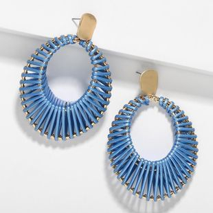 Fashion rattan grass oval hand-woven earrings NHJQ136381's discount tags