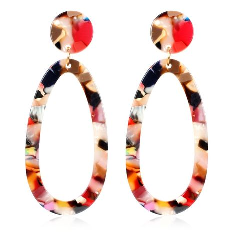 Elliptical Acetate Sheet Acrylic Earrings NHCT136386's discount tags