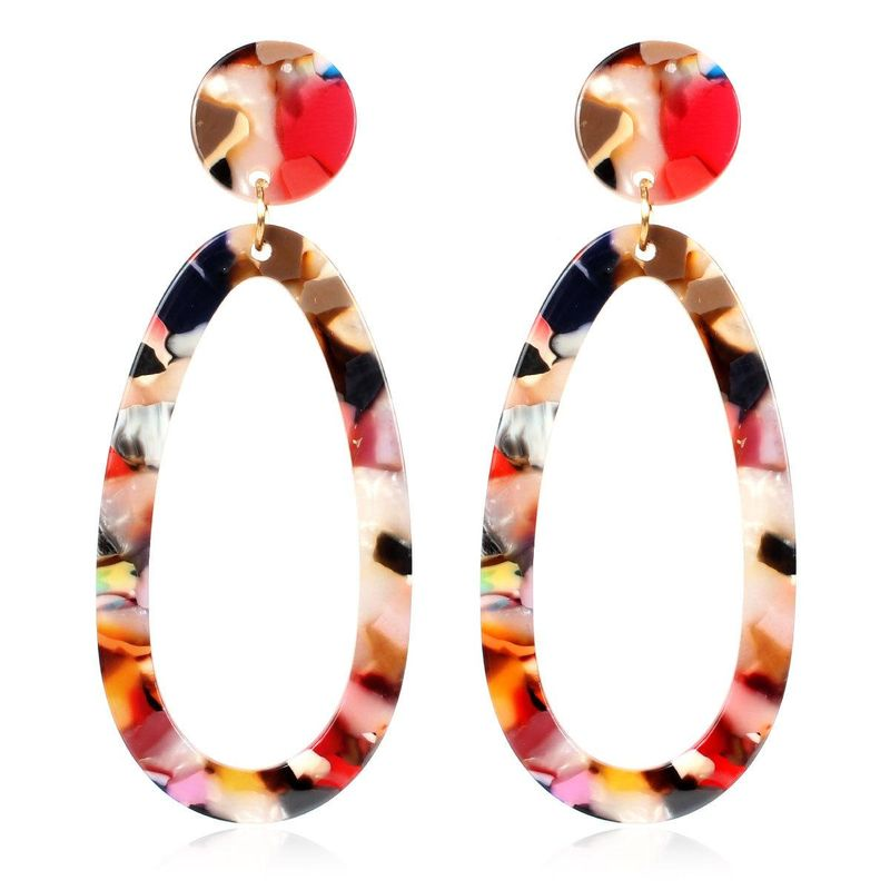 Elliptical Acetate Sheet Acrylic Earrings NHCT136386