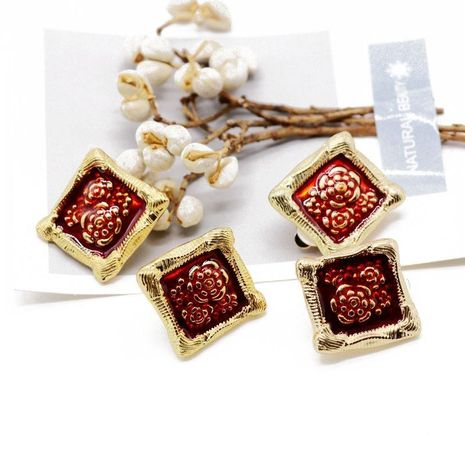 Wine red dripping oil painted flower earrings NHOM136395's discount tags