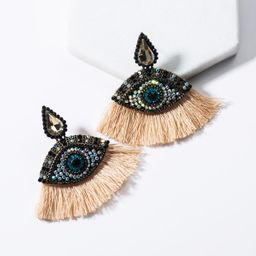 Drop-shaped acrylic-encrusted eye fan-shaped tassel earrings NHJE136402
