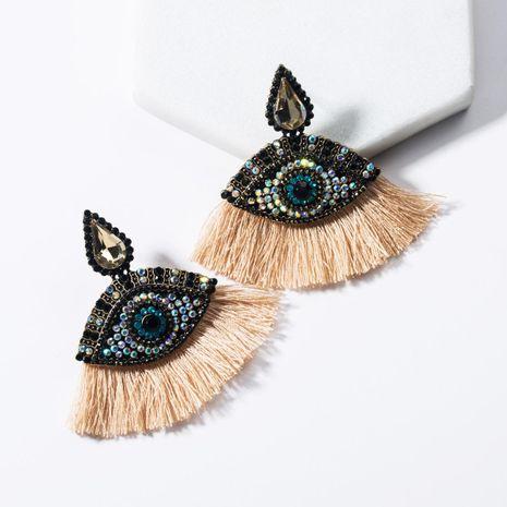 Drop-shaped acrylic-encrusted eye fan-shaped tassel earrings NHJE136402's discount tags