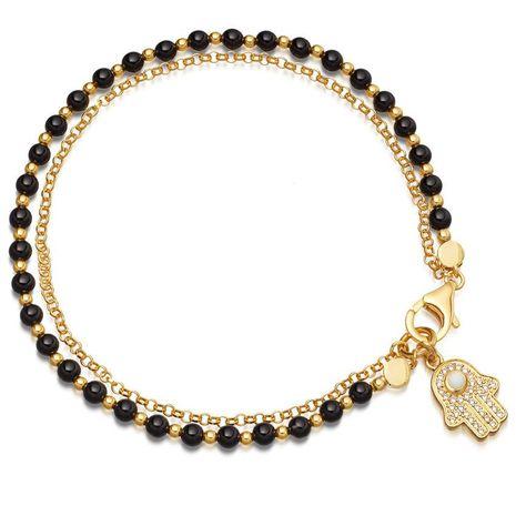 Original Rhinestone Fatimar Palm Beaded Imitated crystal Bracelet NHHN136413's discount tags