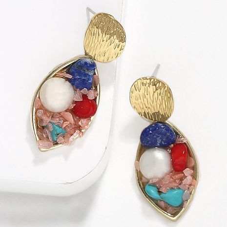 Creative retro minimalist inlaid beads gravel earrings NHJQ136416's discount tags