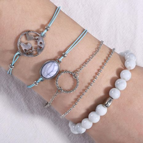 Creative plant animal fruit-shaped round stone alloy bracelet NHJQ136417's discount tags