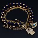 Fatima palm eyes with rhinestone imitated crystal glass beads beaded bracelet NHHN136249