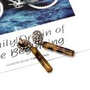 Round rhinestonestudded colored cylindrical resin stud earrings NHOM136410