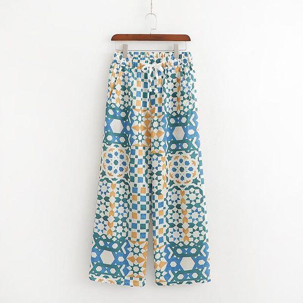 Vintage printed wide leg slacks NHAM136576