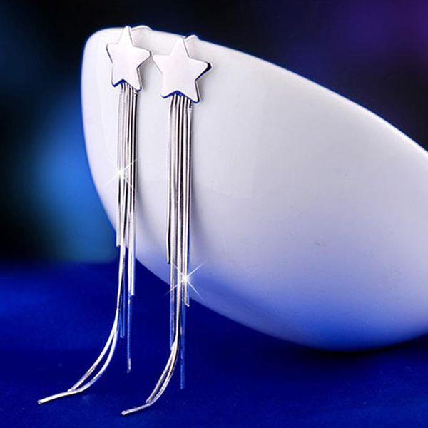 Korean version of shiny glossy five-pointed star long tassel earrings NHLJ136780