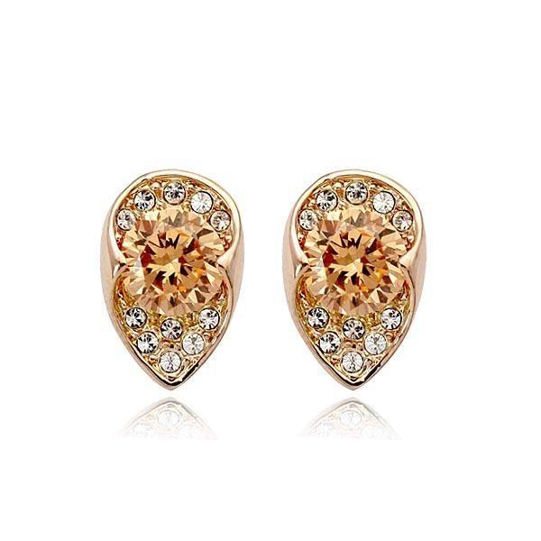 Fashion temperament plated alloy simple citrine earrings NHLJ136812