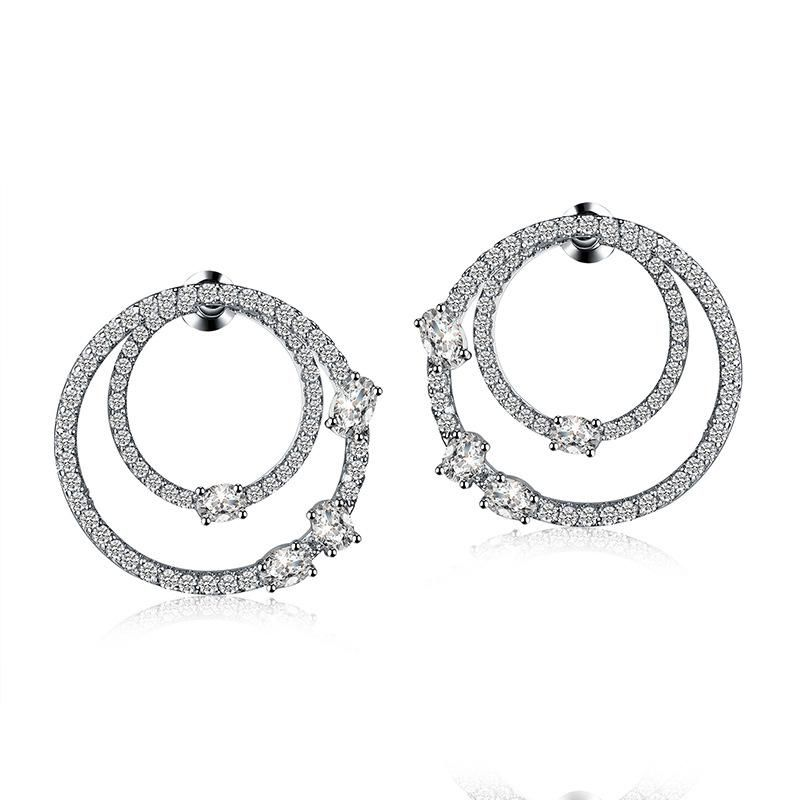 Fashion creative doublesided circle zircon earrings NHLJ136844