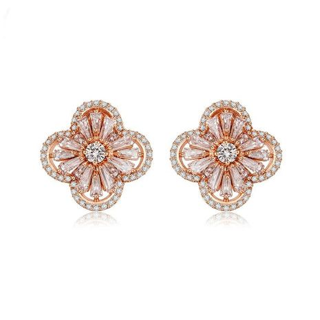 Korean version of the popular four-leaf AAA zircon earrings NHTM136898's discount tags