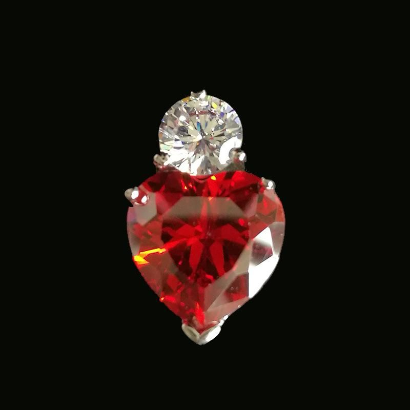 S925 sterling alloy red heart-shaped heart and arrow zircon pendant NHLJ136908