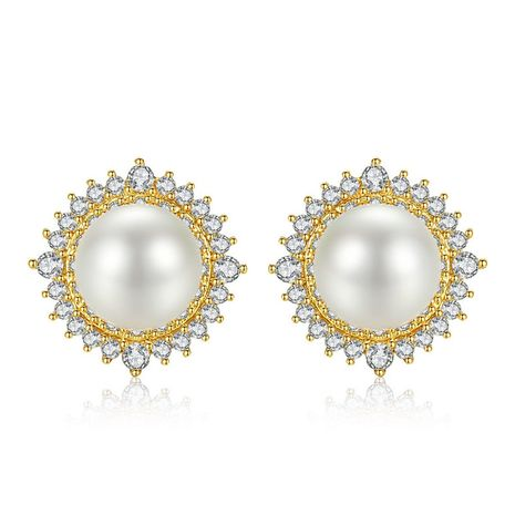 Korean version of the exquisite AAA zircon shell beads earrings NHTM136938's discount tags