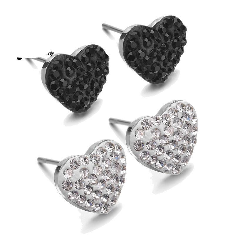Womens Heart-Shaped Stainless Steel Earrings NHHF136942