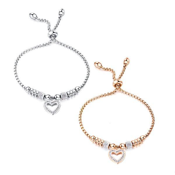 Rose Alloy Titanium Steel Love Zircon Rhinestone Bracelet NHOP136970