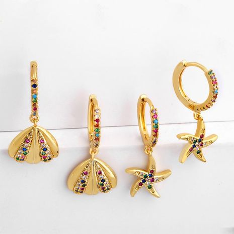 Ocean style alloy-plated colorful shell earrings NHAS136974's discount tags