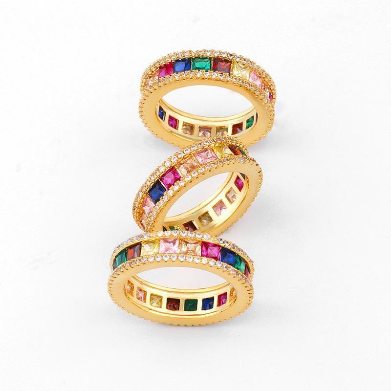 Fashion geometric color rhinestone ring NHAS136985