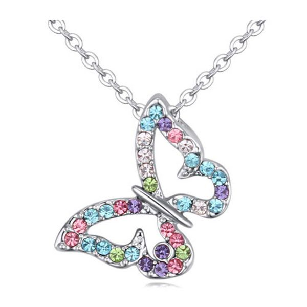 Fashion temperament butterfly Austrian imitated crystal alloy necklace NHLJ136990