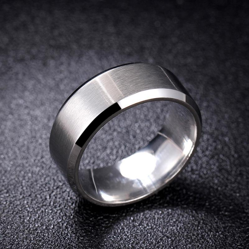 Steel brushed matte scratch-resistant stainless steel ring NHIM137012