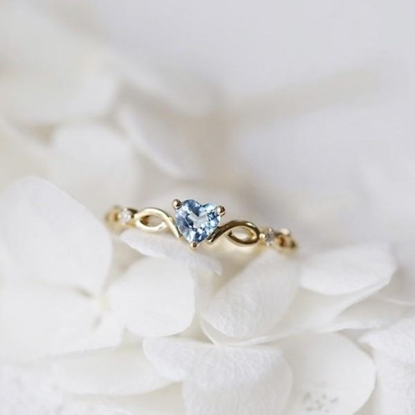 Simple and small fresh heart-shaped alloy ring NHQL137013