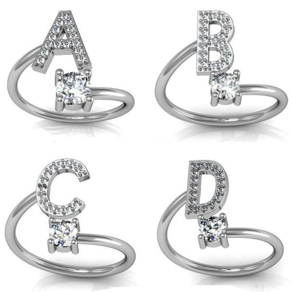 26 English alphabet style rhinestone ring NHQL137028
