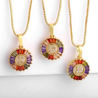 English alphabet color zircon letter round necklace NHAS137029