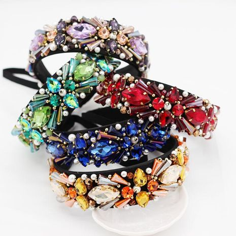 Fashion Baroque Imitated crystal Beads Hand Sewn Headband NHWJ137089's discount tags