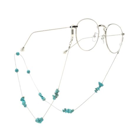 Fashion natural turquoise beads handmade glasses chain NHBC137228's discount tags